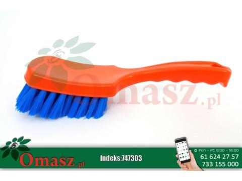 Szczotka do mycia pomarańczowo-niebieska z krótką rączką Delaval