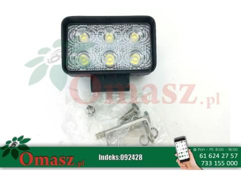 Lampa robocza 6 LED prostokątna 10-30V, 18W