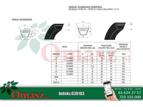 Pasek klinowy 25 3390 zielony Sanok