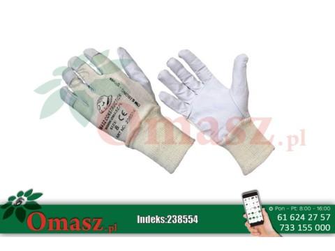 Rękawice z koziej skóry białe ze ściągaczem rozm. 8