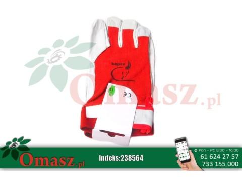 Rękawice z koziej skóry biało-czerwone z rzepem rozm. 10
