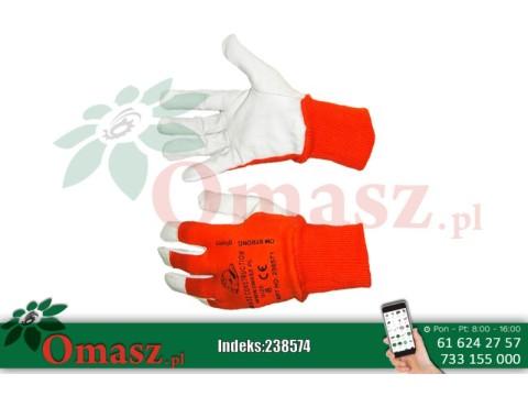 Rękawice z koziej skóry biało-pomarańczowe ze ściągaczem rozm. 11