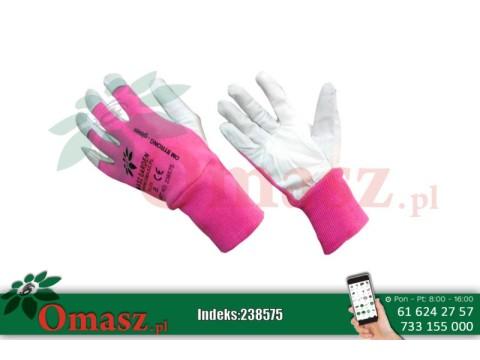 Rękawice z koziej skóry biało-różowe ze ściągaczem rozm. 8