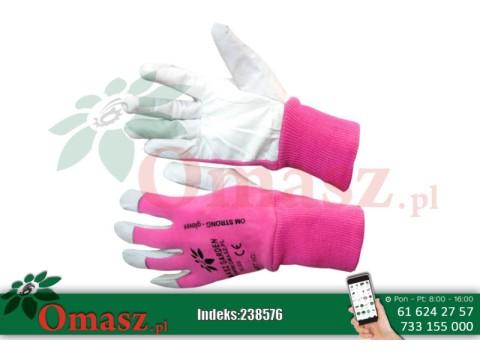 Rękawice z koziej skóry biało-różowe ze ściągaczem r. 9