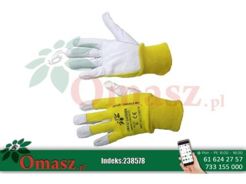 Rękawice z koziej skóry biało-żółte ze ściągaczem rozm. 8