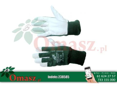 Rękawice z koziej skóry biało-zielone ze ściągaczem rozm. 8