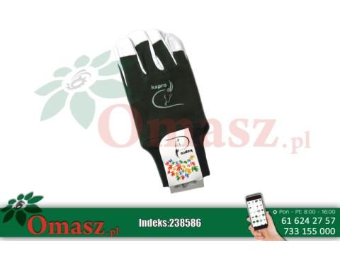 Rękawice z koziej skóry biało-zielone ze ściągaczem rozm. 9