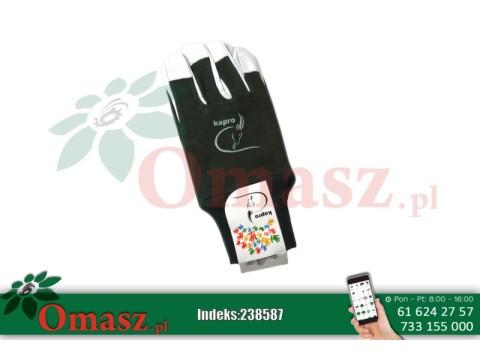 Rękawice z koziej skóry biało-zielone ze ściągaczem rozm. 10