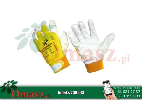 Rękawice z koziej skóry biało-żółte z rzepem rozm. 8