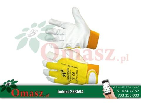 Rękawice z koziej skóry biało-żółte z rzepem rozm. 9
