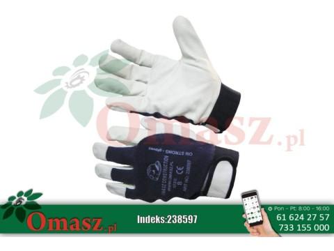 Rękawice z koziej skóry biało-niebieskie z rzepem rozm. 8