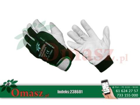 Rękawice z koziej skóry biało-zielone z rzepem rozm. 8