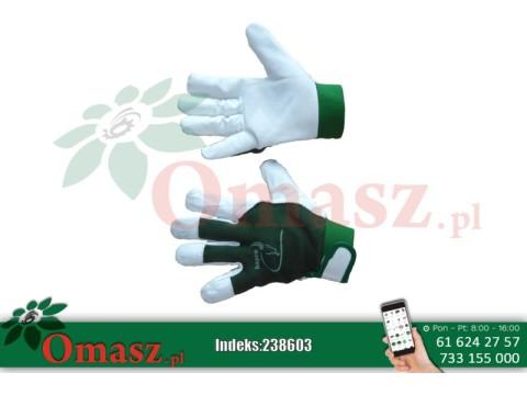 Rękawice z koziej skóry biało-zielone z rzepem rozm. 10
