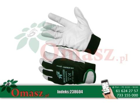 Rękawice z koziej skóry biało-zielone z rzepem rozm. 11