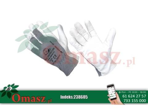 Rękawice z koziej skóry biało-szare z mankietem rozm. 8