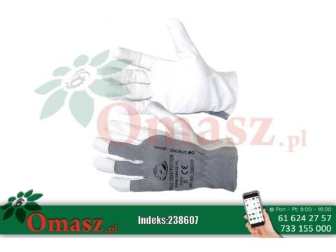 Rękawice z koziej skóry biało-szare z mankietem rozm. 10