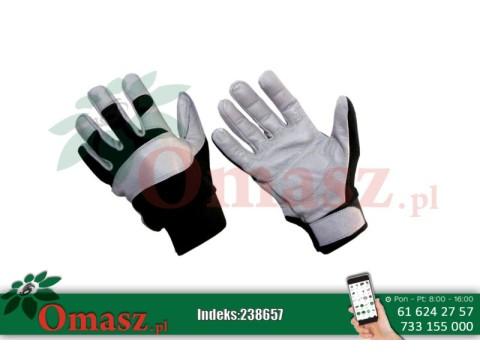 Rękawice z koziej skóry szaro-czarne ocieplane rozm. 8