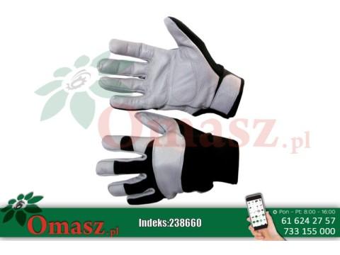 Rękawice z koziej skóry szaro-czarne ocieplane rozm. 11