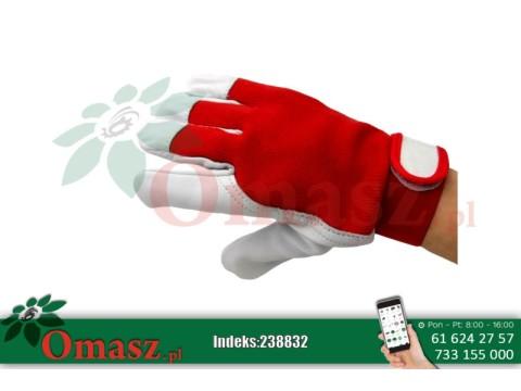 Rękawice z koziej skóry biało-czerwone z rzepem r.8