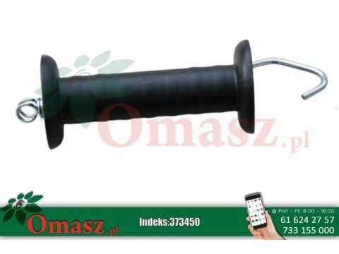 Uchwyt bramowy z hakiem i sprężyną naciągową, czarny