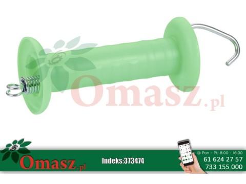 Uchwyt izolacyjny bramowy średni zielony z hakiem i sprężyną naciągową