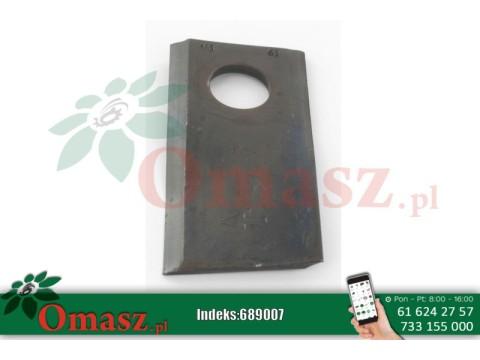 Nożyk kosiarki rotacyjnej lewy 105x4 mm owalny otwór 23.0x20.5 mm pasuje do Taarup