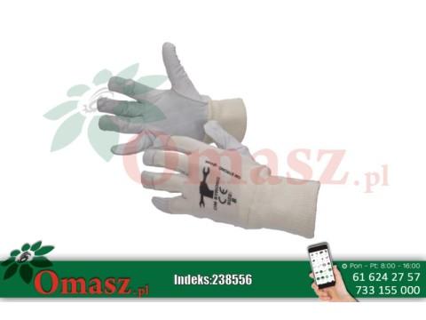 Rękawice z koziej skóry białe ze ściągaczem rozm. 10