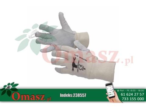 Rękawice z koziej skóry białe ze ściągaczem rozm. 11