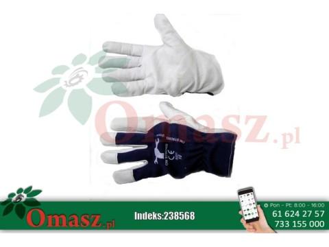 Rękawice z koziej skóry biało-granatowe z mankietem rozm. 10