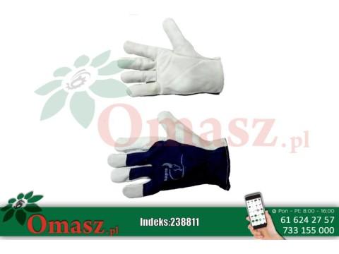 Rękawice Kapro z koziej skóry biało-granatowe z mankietem rozm. 10