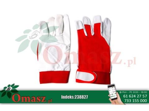 Rękawice z koziej skóry biało-czerwone z rzepem rozm. 9